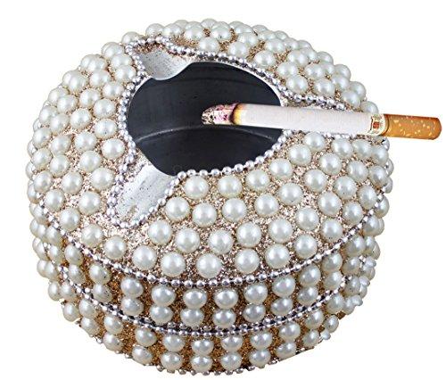 Design Ashtray (Ashtray Round Beads Metal Vintage Design Cigar Ash Tray Cigarette Decorative - 4 Inch (Gold))