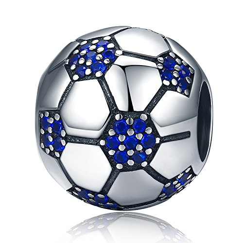XingYue Jewelry 925 Sterling Silver Football Bead Charms Soccer Charm with Clear Blue CZ Charms Fit Snake Chain Bracelets - Football Charm Sterling Silver Jewelry