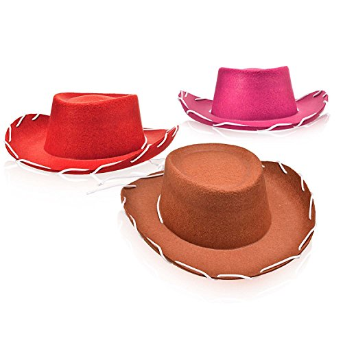 Set of 3 Children's Western Style Woody Felt Cowboy Hats in Pink, Red and Brown for Pretend Play]()