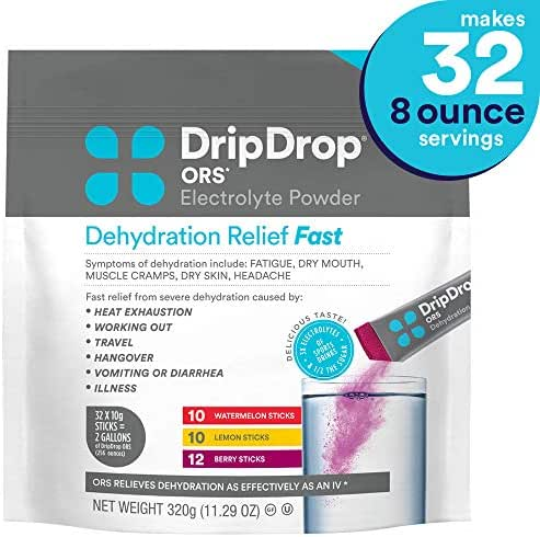 DripDrop ORS - Patented Electrolyte Powder for Dehydration Relief fast - For Hangover, Heat Exhaustion, Illness, Sweating & Travel Recovery, Watermelon, Berry, Lemon Flavor, Makes (32) 8oz Servings