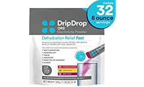 DripDrop ORS Electrolyte Hydration Powder Sticks, Watermelon, Berry, Lemon Flavor Variety in Convenient Pouch, Makes (32) 8oz Servings