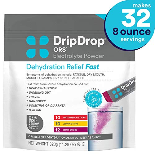 - DripDrop ORS Electrolyte Hydration Powder Sticks, Watermelon, Berry, Lemon Flavor Variety in Convenient Pouch, Makes (32) 8oz Servings