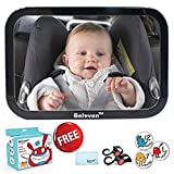Baby Car Mirror for Back Seat, Clear Rearing Facing Mirror, 360 Degree Adjustable Wide Convex Shatterproof Glass, Fully Assembled, Crash Tested