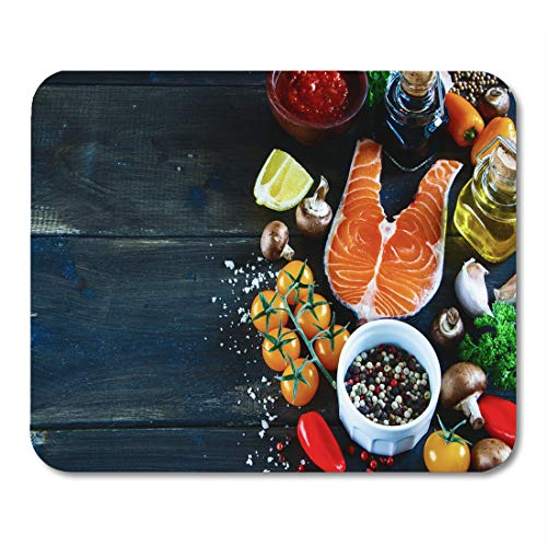 (Semtomn Mouse Pad Salmon Steak Fresh Ingredients for Tasty Cooking on Rustic Mousepad 9.8
