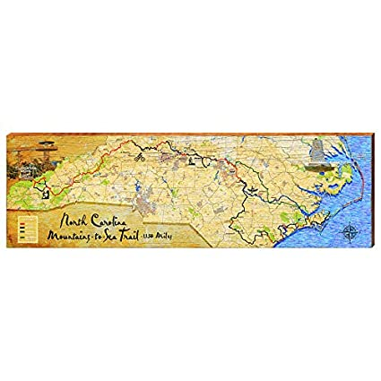 Amazon.com: North Carolina Mountain to Sea Map Home Decor ...