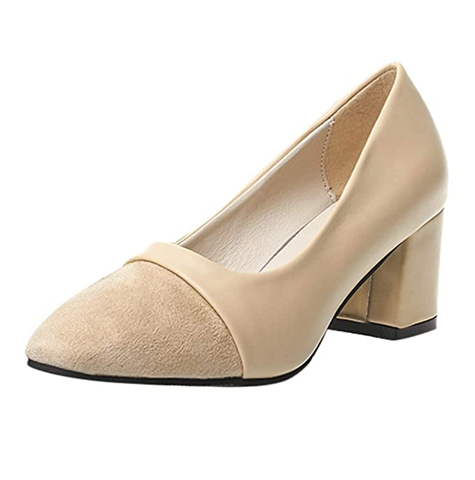 Amazon.com  Women Chunky High Heel Low Heel Pumps Office Work Party Dress  High Heel JHKUNO  Clothing 762de7572
