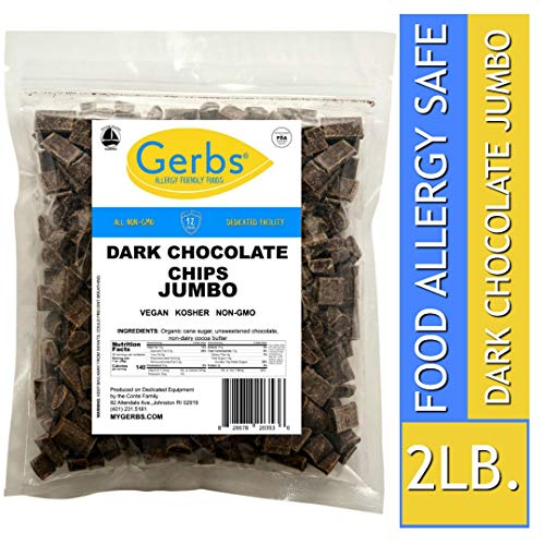 Gerbs Jumbo Dark Chocolate Chips, 2 LBS (semi-sweet) - Top 14 Food Allergy Free & NON GMO - Product of Canada