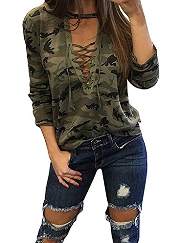 Camouflage Long Sleeve Camo T-shirt - LuckyMore Womens Sexy V Neck Camouflage Print Leopard Long Sleeve T Shirts Tops(Green Camouflage,M)
