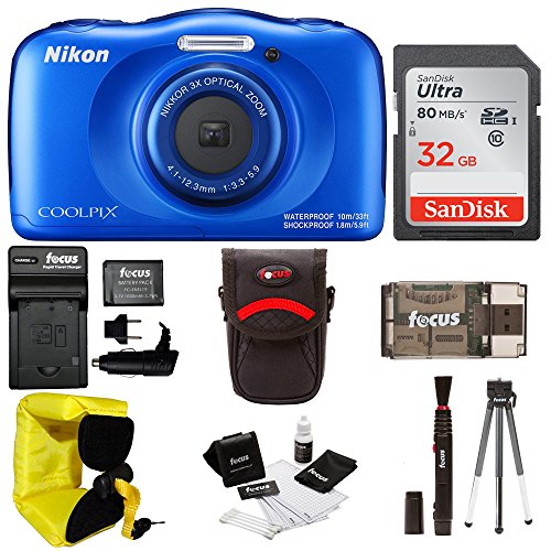 Nikon Coolpix W100 Rugged Digital Camera (Blue) + 32GB Card + Battery with Charger + Floating Strap + Bundle by Focus Camera