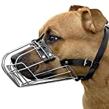 BronzeDog Pitbull Dog Muzzle Wire Basket AmStaff Pit Bull Adjustable Leather Straps (M)