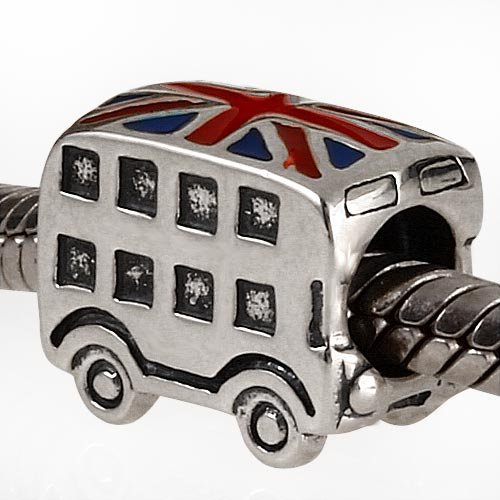 London Double Decker Bus Charm - 925 Sterling Silver British Flag Enamel Bead - for European Style by Travel Charms (Image #1)