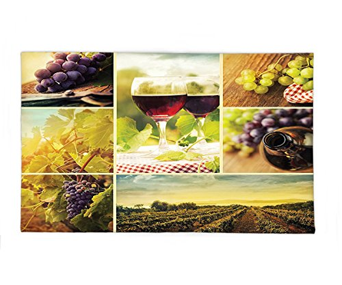 Interestlee Fleece Throw Blanket Collection Rustic Style Collage of Wine Glass Grapes and Vineyard Qualified Harvest Village Picture Art Green - Village University Seattle Stores