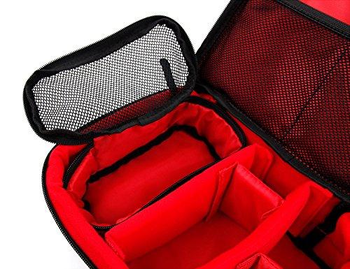 DuraGadget - Halbhartschale | Case | Tasche Schwarz-Rot mit flexiblen Trennfächern für Ihren Beamer Philips PicoPix PPX4350 | PPX4935 | Pico Pix 4150 LED-Projector | PPX3417W | PPX4010 | PPX4350W | PP Schwarz-Rote Tasche