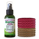 Kinven Anti Mosquito Repellent Bundle - Mosquito Wristband Repellent & Spray, Waterproof, Natural, DEET-free, Indoor & Outdoor Protection for Adults & Kids (2oz spray bottle + 8 bracelet, Brown/Red)