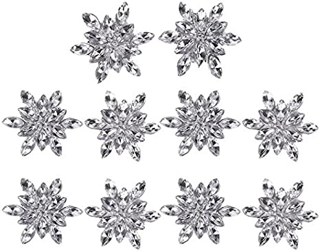 Set of 3 25mm Snowflake Pearl Rhinestone Acrylic Button