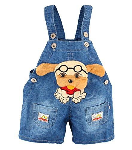 Kidscool Baby Summer Cotton Denim 3D Cartoon Dog Short Overalls with Glasses
