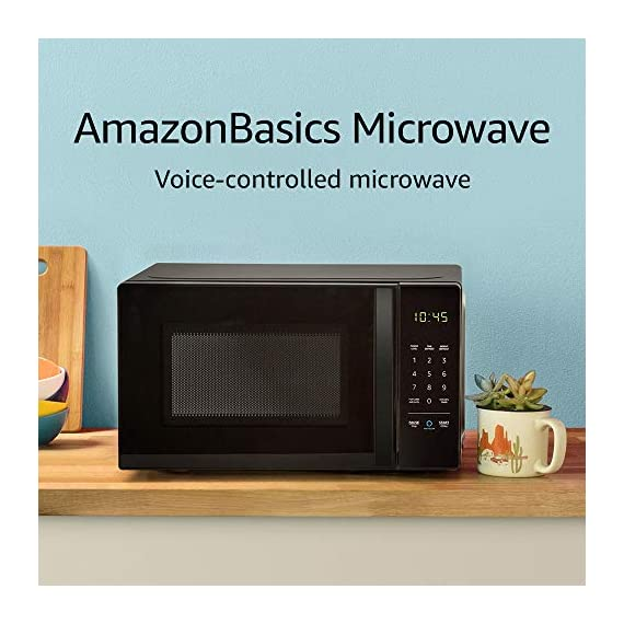 Amazon Basics Microwave bundle with Echo Dot (3rd Gen) - Charcoal 2 Now it's easier to defrost vegetables, make popcorn, cook potatoes, and reheat rice. With an Echo device (not included), quick-cook voice presets and a simplified keypad let you just ask Alexa to start microwaving. Automatically reorder popcorn when you run low and save 10% on popcorn orders-enabled by Amazon Dash Replenishment technology Compact size saves counter space, plus 10 power levels, a kitchen timer, a child lock, and a turntable.