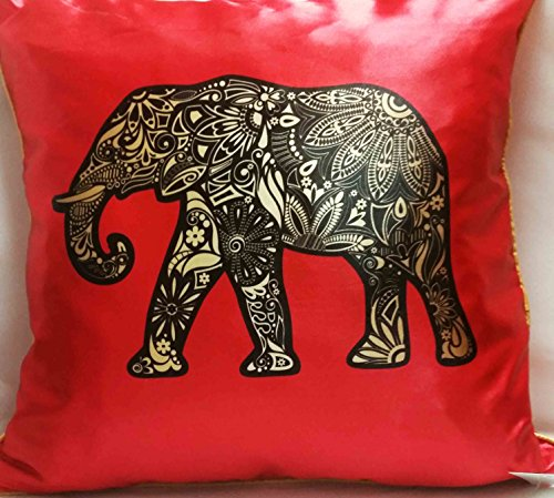 Auspicious Cushion Cover - Precious Elephant (1 Pair) Red