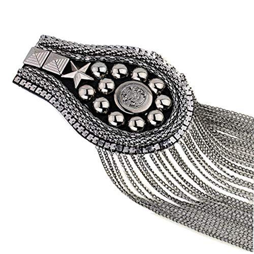 2 pcs Long Tassel Vintage Epaulet Handmade Chain Shoulder Brooch Unisex for Ceremony Performance (Gun) ()