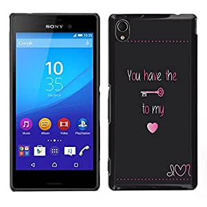 Stuss Case / Funda Carcasa protectora - Tener Clave Mi corazón bloquear texto de San Valentín; - Sony Xperia M4 Aqua