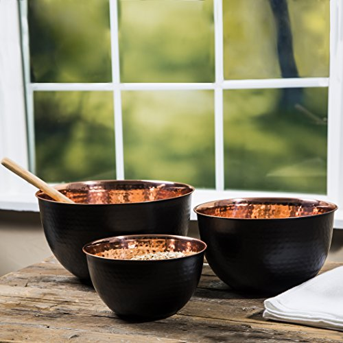 Set Of 3 Piece Hammered Copper Plated Stackable Mixing Bowls, Storage Bowl Set, Hammered Mixing Bowls Black Matte With Copper Interior