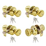 Goldentimehardware Tulip Polished Brass Keyed-Alike Entry Door Locksets Knobs for Exterior Door 4Pack, Same Key