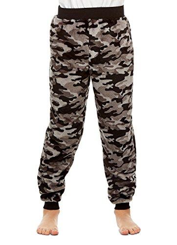 Boys Pajama Bottoms | Cozy Flannel Fleece Camo Jogger Style PJ Pants - M ()