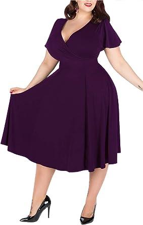 Amazon Com Nemidor Vestido De Dama De Honor Con Cuello En V Para Mujer Elastico Y Casual Para Tallas Grandes Clothing