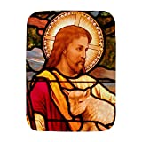 Royal Lion Baby Blanket White Jesus Christ Lamb Stained Glass