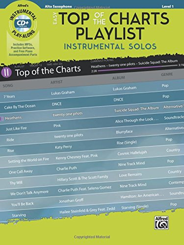 Sax Saxophone Sheet Music Book (Easy Top of the Charts Playlist Instrumental Solos: Alto Sax, Book & CD (Instrumental Solos Series))