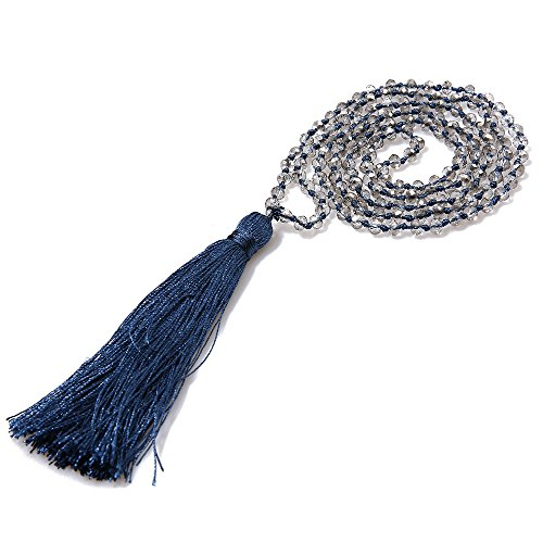 (VEINTI+1 Bohemia Crystal Glass Beads with Tassels Long Sweater Chain Women's Winter Necklace (N-Blue+Clear)