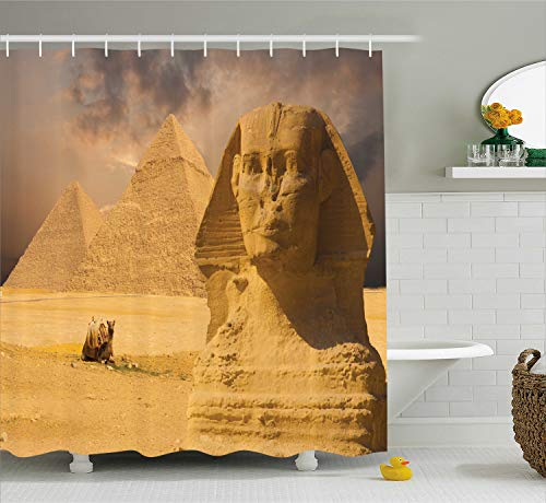 Ambesonne Egyptian Shower Curtain, Sphinx Face with Other Pyramids in Egypt Old Historical Monument, Cloth Fabric Bathroom Decor Set with Hooks, 70