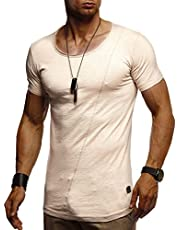 LEIF NELSON Herren Sommer T-Shirt Rundhals-Ausschnitt Slim Fit Baumwolle-Anteil   Moderner Männer T-Shirt Crew Neck Hoodie-Sweatshirt Kurzarm lang   LN8209