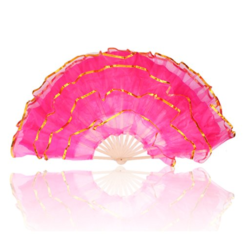 [Large Cloth Folding hand Fan for Belly Dancing Dance Costume] (Fan Costumes)