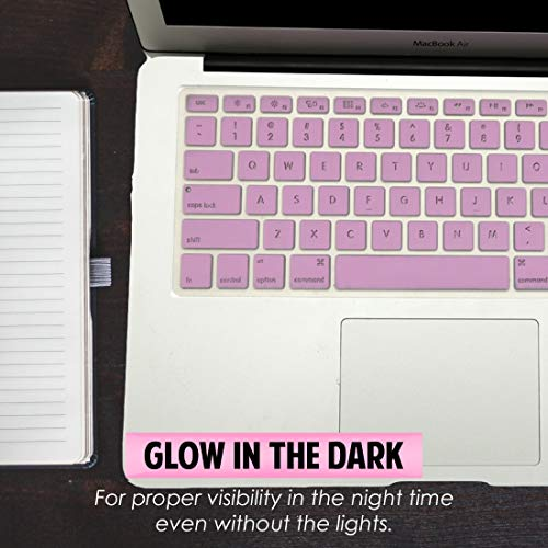 Plastron Backlight See Through Glow in Dark Hollow Letter Keyboard Cover Protector for MacBook Air Pro 13 15 17 (Lavender)