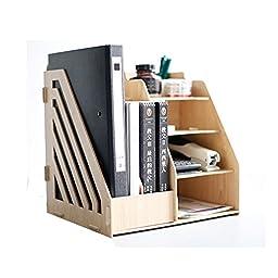 SOGAR Muti-function Wooden Board Desktop Organizer Shelf 2 Document/Magazine Slots, Shelf Cubbies & Office Supply Holder