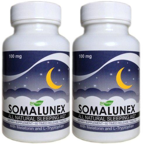 2 x SomaLunex Extra Strength Dormir / Calmant / Stress Relief Pills w / mélatonine, la camomille, la valériane, et le millepertuis - Timed comprimés à libération