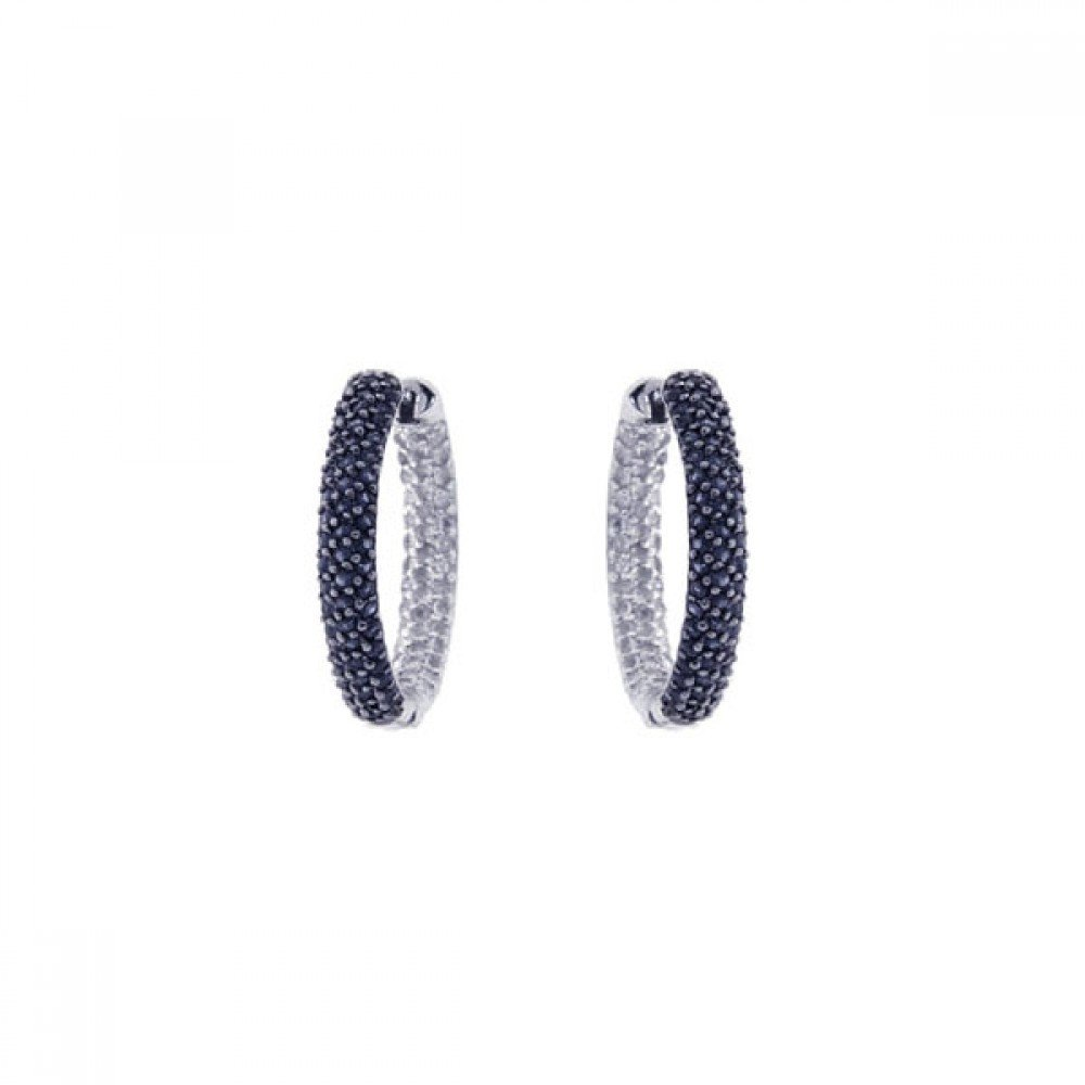 Pave Set Black And Clear Cubic Zirconia Hoop Earrings Rhodium Plated Sterling Silver