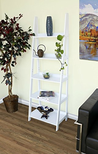 - Innovex Geneva 5 tier ladder leaning bookcase, multifunctional wood storage display wall shelve, white