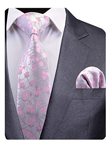 GUSLESON New Pink Floral Tie Silk Mens Wedding Necktie Pocket Square Set with Gift Box (0783-11)