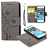 iPhone 5 5S SE Case, iPhone 5 5S SE Wallet Case Embossed Butterfly PU Leather Flip Case Cover Detachable Magnetic Wallet with Card Slots and Wrist Strap for iPhone 5 5S SE Gray