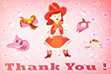 Dolce Mia Horsey Girl Cowgirl Birthday Thank You Card Party Pack - 8 cards