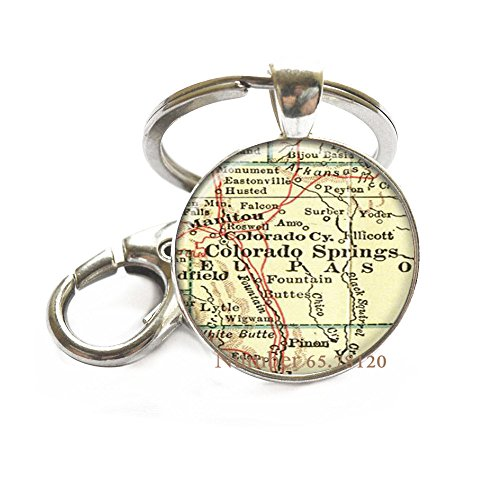 City of Colorado Springs Colorado Antique Map Key Ring State of CO Map Jewelry,Romantic Gift Key Ring,Handmade Key Ring,Travel Jewelry,Charm Jewelry,BV365 (V1)