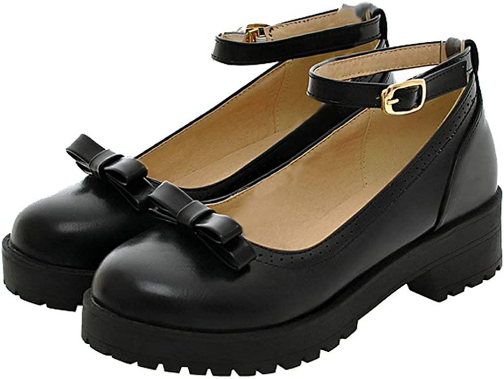 Caradise Womens Chunky Platform Mary Janes School Cosplay Uniform Shoes