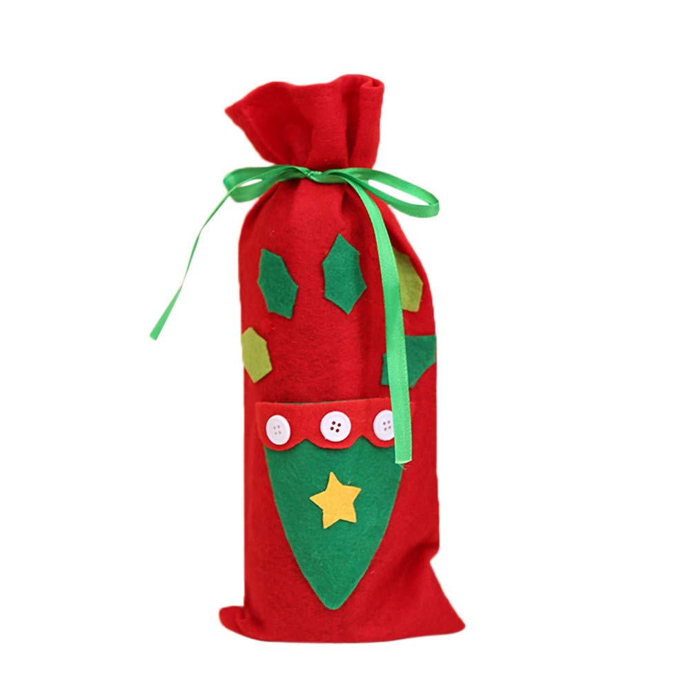 PENGYGY Red Wine Bottle Cover Bags Decoration Home Party Santa Claus Christmas Home Decor Christmas