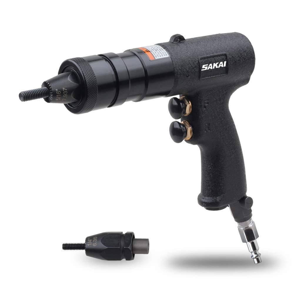 SAKAI Pneumatic Rivet Nut Setting Gun with Quick-Change 1/4 & 5/16 2pcs Mandrels