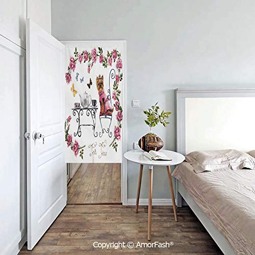 AmorFash Yorkie Individuality Japanese Style Doorway Curtain,Noren Curtain Tapestry,Yorkshire Terrier in Pink Dress Having a Tea Party Tea Time Butterflies Roses Decorative