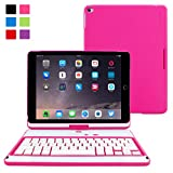 iPad Air 2 Keyboard, Snugg [Hot Pink] Wireless Bluetooth Keyboard Case Cover [Lifetime Guarantee] 360° degree Rotatable Keyboard for Apple iPad Air 2