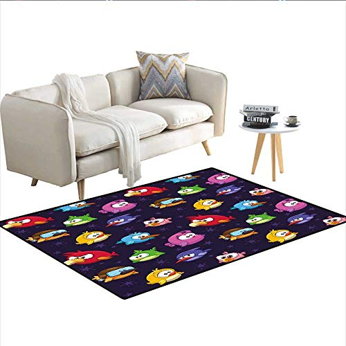 """Price comparison product image Carpet, Angry Flying Birds Figure with Various Expressions Game Toy Kids Babyish Artsy Image, Indoor Outdoor Rug, Multicolor 36""""x48"""""""