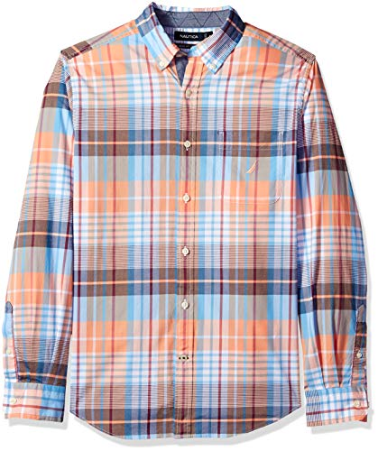 Nautica Men's Stretch Long Sleeve Casual Plaid Button Down Shirt, Guavapunch, X-Large